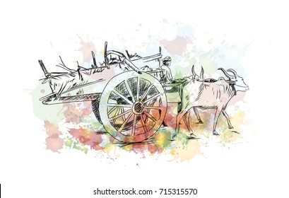 Watercolor sketch of Bull Cart in vector illustration.