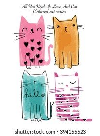 watercolor sketch cat series with colored