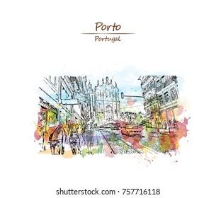 Watercolor sketch with color splash of Carmelites church Porto, Portugal in vector illustration.