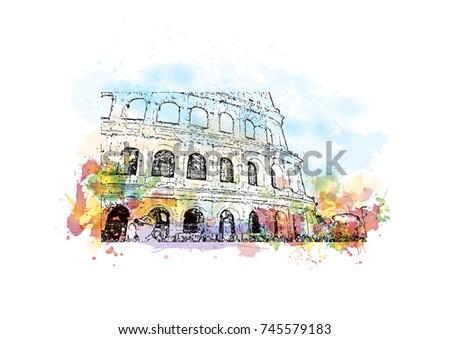 Watercolor Sketch Color Splash Colosseum Rome เวกเตอร์สต็อก