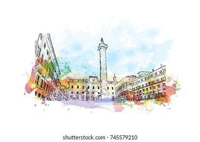 Watercolor sketch with color splash of Fontana Di Piazza Colonna, Rome Italy in vector illustration.