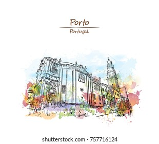 Watercolor sketch with color splash of Porto City Hall on Liberdade Square, Porto, Portugal in vector illustration.