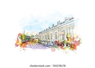 Watercolor sketch with color splash of St. Peter's Square, Vatican City, Rome Italy in vector illustration.
