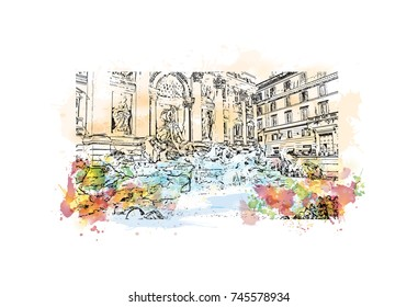 Watercolor sketch with color splash of Trevi Fountain Rome, Capital of Italy in vector illustration.