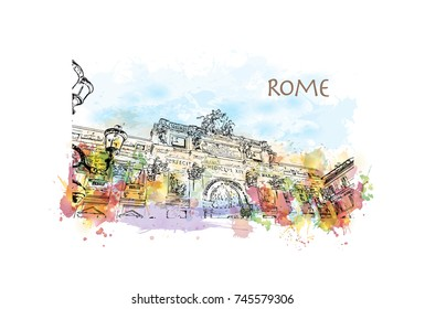 Watercolor sketch with color splash of The Trevi Fountain is a fountain in the Trevi district in Rome, Italy in vector illustration.