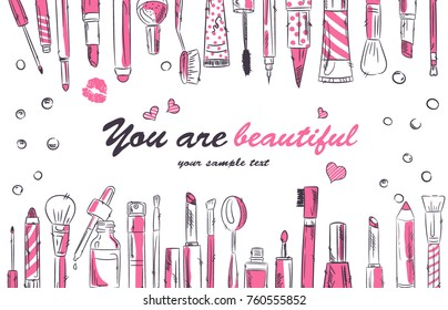 Watercolor sketch of cosmetics products, fashion makeup banner. Brushes, powder palettes, lipstick, eye pencil, nail polish vector illustrations set. Cosmetics shop, beauty salon