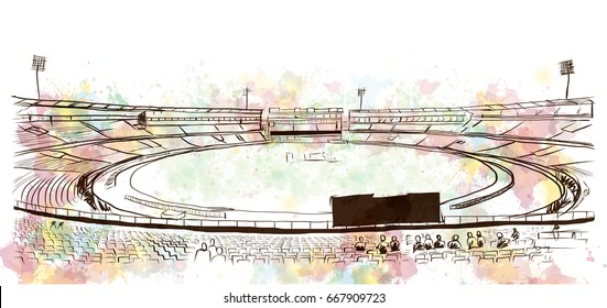 Watercolor with sketch of Cricket stadium in vector.