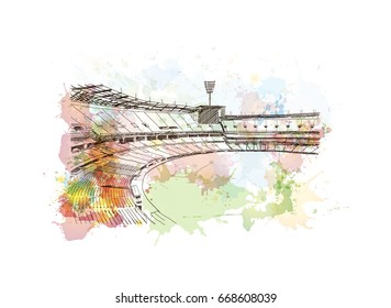 Watercolor sketch of Cricket stadium in vector.