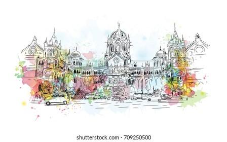 Watercolor sketch of CST, Chatrapati Shivaji Terminus Mumbai, India in vector illustration.
