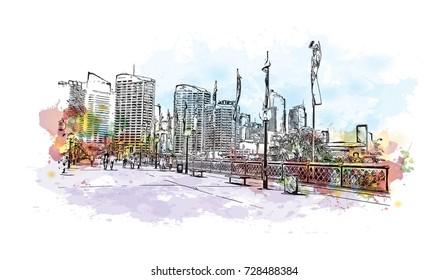 Watercolor Sketch of Darling Harbour Sydney Australia in vector illustration.
