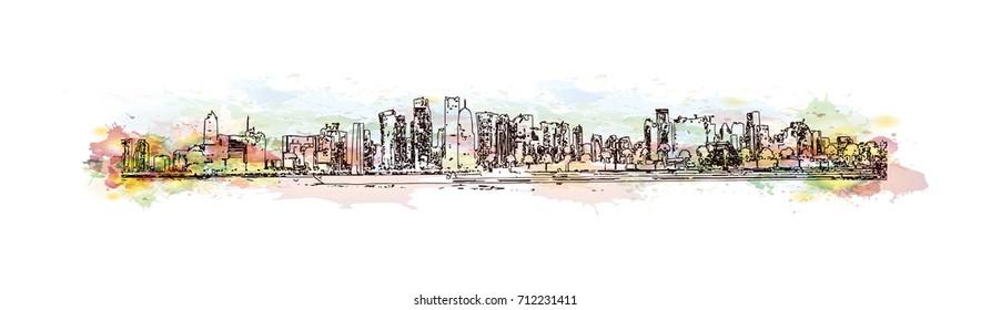 Watercolor sketch of Doha Qatar in vector illustration.