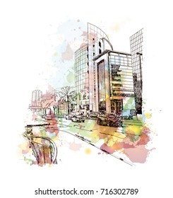 Watercolor sketch of Dubai Buildings in vector illustration.