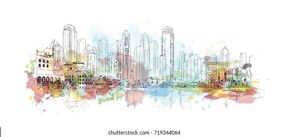 Watercolor sketch of Dubai city buildings in vector illustration.