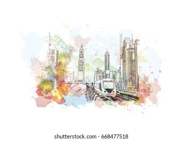 Watercolor sketch of Dubai metro in vector