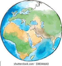 Watercolor sketch earth vector