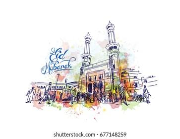 Watercolor sketch of Eid Mubarak with Mecca Entrance in vector