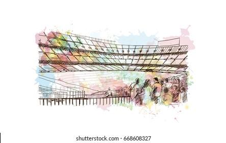 Watercolor sketch of Football stadium in vector.