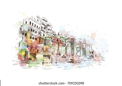 Watercolor sketch of Ganga Ghat Varanasi India in vector illustration.