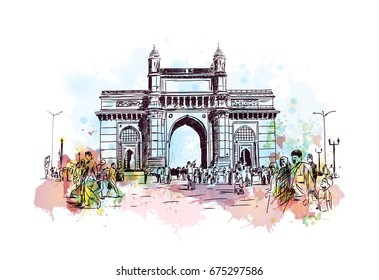 Watercolor sketch of Gateway of India Mumbai in vector.