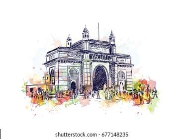 Watercolor sketch of Gateway of India Mumbai in vector