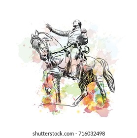 Watercolor sketch of General George Washington Equestrian Statue at Union Square in Manhattan, USA in vector illustration.