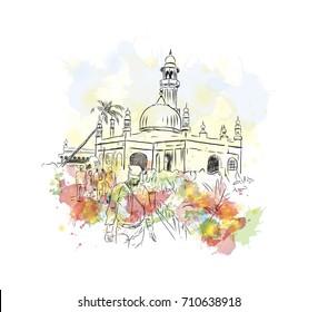 Watercolor sketch of Haji Ali Dargah Mumbai India. Vector illustration.