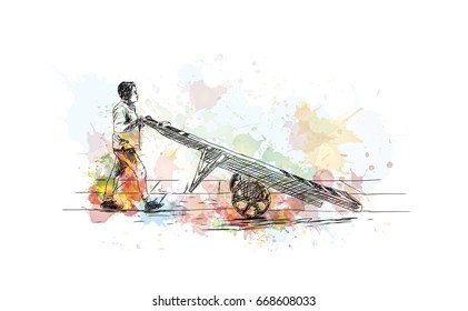 Watercolor sketch of hand pulling two wheel car with Indian coolie in vector.