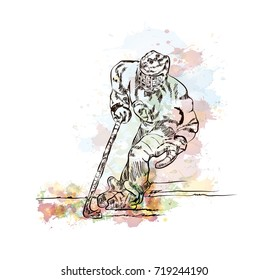 Watercolor sketch of Ice hockey player in vector illustration.