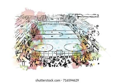 Watercolor sketch of Ice Hockey stadium in vector illustration.