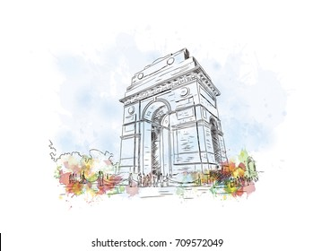 Watercolor sketch of India Gate New Delhi in vector illustration.