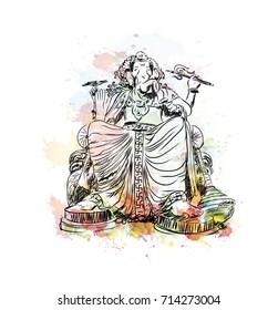 Watercolor sketch of Lord Ganesha in vector illustration.