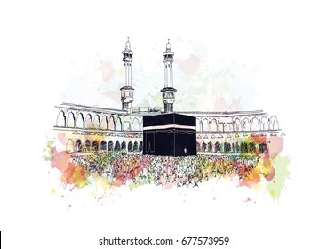 Watercolor sketch of Mecca in vector