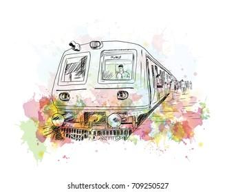 Watercolor sketch of Mumbai local train in vector illustration.