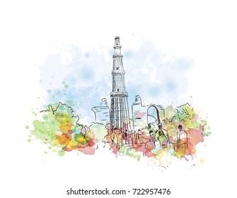 Watercolor sketch of Qutub Minar New Delhi, India in vector illustration.