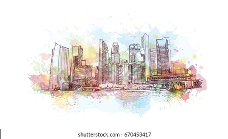 Watercolor sketch of Singapore marina bay sands in vector
