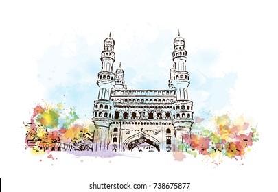 Watercolor sketch with splash of Charminar Hyderabad Telangana India in vector illustration.