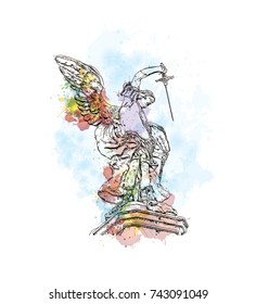 Watercolor sketch with splash of Detail of the Saint Michael statue on the top of Castel Sant`Angelo in Rome in vector illustration.