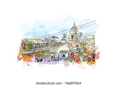 Watercolor sketch with splash of Ganga Uttarakhand, India in vector illustration.
