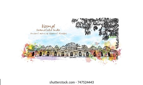 Watercolor sketch with splash of Indo-Islamic style structure used as the stables for the royal elephants of the Vijayanagara Empire Hampi, Karnataka, India in vector illustration.