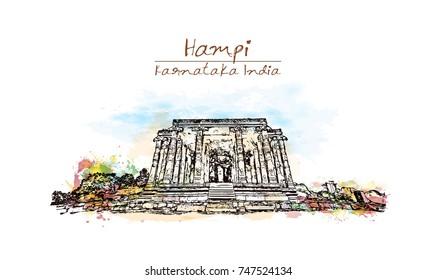 Watercolor sketch with splash of kadalekalu ganesha temple Hampi, Karnataka, India in vector illustration.