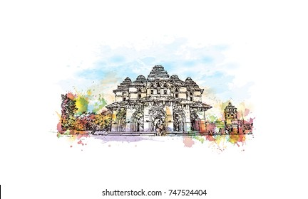 Watercolor sketch with splash of Lotus Mahal Hampi Hampi, Karnataka, India in vector illustration. Ancient stone palace structure with tranquil gardens, arches & elaborate carvings.
