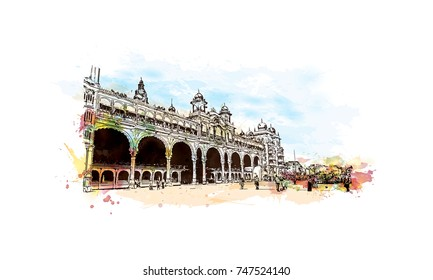 Watercolor sketch with splash of Mysore Palace, is a historical palace and a royal residence at Mysore in the southern Karnataka state of India in vector illustration.