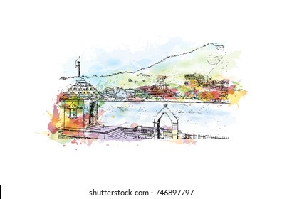 Watercolor sketch with splash of Rishikesh Uttarakhand, India in vector illustration.