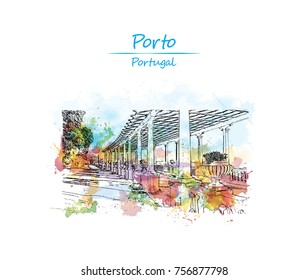 Watercolor sketch with splash of terrace on the coast of the Atlantic ocean in Matosinhos, Porto, Portugal in vector illustration.