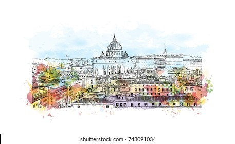 Watercolor sketch with splash of View of Rome from Castel Sant' Angelo in vector illustration. Skyline of Rome, Italy. Rome architecture and landmark, Rome cityscape