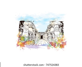 Watercolor sketch with splash of Vittala temple in Hampi, Karnataka, India in vector illustration.