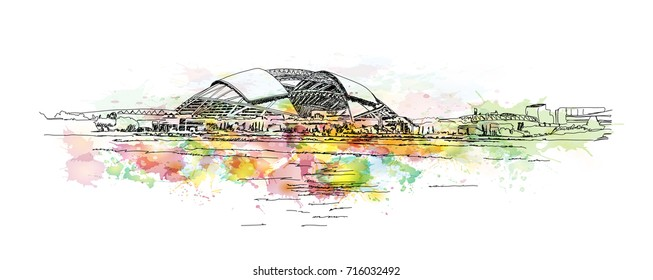 Watercolor sketch of Stadium, Singapore in vector illustration.