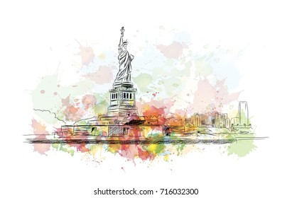 Watercolor sketch of Statue of Liberty New York City USA in vector illustration.