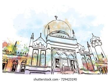 Watercolor sketch of Sultan Mosque Singapore in vector illustration.