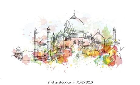 Watercolor sketch of Taj Mahal India in vector illustration.